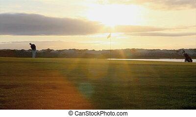 Golfer silhouette Algarve. Portugal - Golfer silhouette...