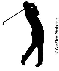 Golfer silhouette isolated on white