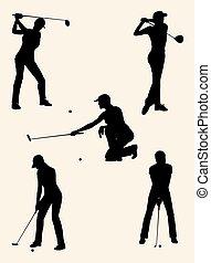 Golfer silhouettes 01.