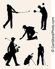 Golfer silhouettes 02.