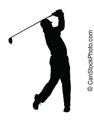 golfer, silhuet, -, færdigbehandl, golf, sport, tee-shot