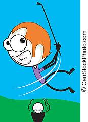 Golfer - Illustration of a golfer hitting a ball