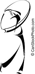 Golfer swinging Stylized - Stylized logo style vector of a...