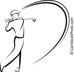 Golfer Teeing Off Stylized - Vector black and white...
