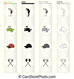 Golfer with stick, golf course, cap, crossed clubs. Golf set...