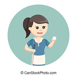 golfer woman with golf stick and ball in circle background