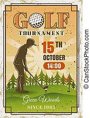 golfeur, affiche, tournoi, golf, coloré