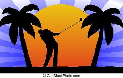 golfeur, coucher soleil