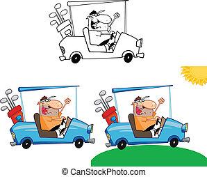 golfeur, ensemble, chariot golf, collection