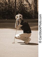 golfeur, sépia, dame