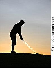 golfeur, silhouette