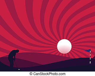 golfeur, silhouette, nuit