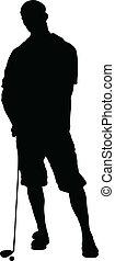 golfeur, silhouettes, vecteur, homme