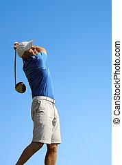 golfeur, tir, a, balle golf