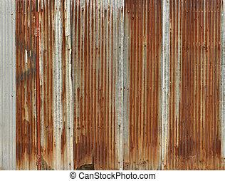 golfijzer, muur, metaal, roestige , achtergrond, zink