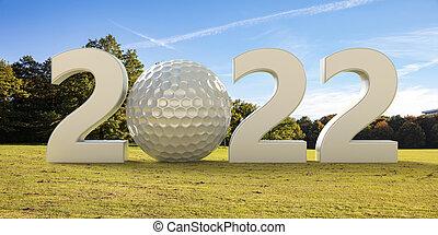 Golfing 2022. New year, golf court, blue sky background. 3d illustration