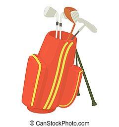 Golfing bag icon, cartoon style