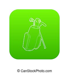 Golfing bag icon green