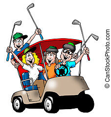 Golfing Family - Image of a family playing golf, and riding...