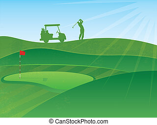 Golf Course Hills Background with a Golfer and Cart in the Distance