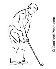 Golfing man. Active people.