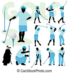 Golfing people - Set of golfing people silhouette on a golf...