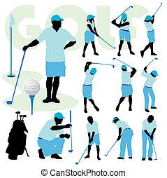 golfing, persone