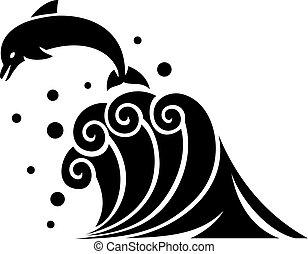 golfinho, ilustração, ondas, vetorial