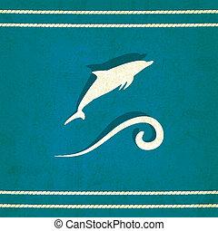 golfinho, marinho, antigas, fundo