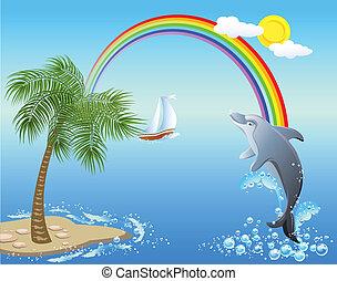 golfinho, pulos, de, água, ligado, a, fundo, de, arco íris