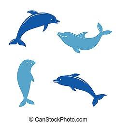desenhado silhuetas golfinho