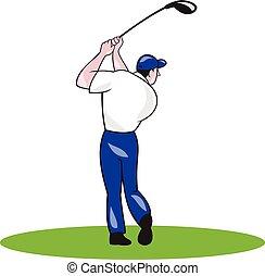 golfista, caricatura, club, balanceo, círculo