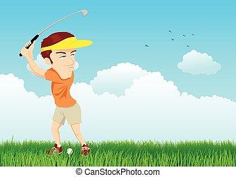 golfista, cartone animato, illustrazione