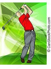 golfista, columpio