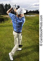 golfista, disparando, un, pelota de golf