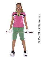 golfista, hembra