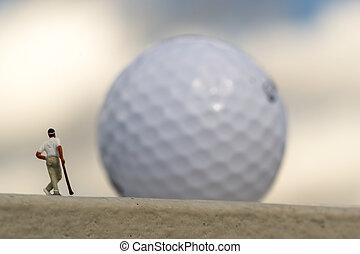 golfista, miniatura, gigante, golfball, confuso