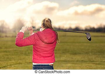 golfista, mirar, ella, unidad, de, el, tee