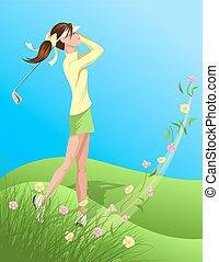 golfista, mujer, flor, balanceo, afuera