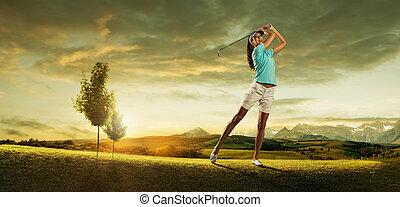 golfista, plano de fondo, hermoso, pelota, golpear, mujer, paisaje