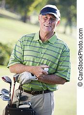 golfista, retrato, macho