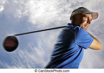 golfista, riprese, uno, palla golf