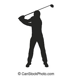golfista, silhouette