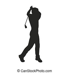 golfista, silueta