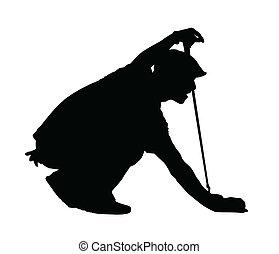 golfista, silueta, -, golf, deporte, arrodillar