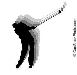 golfista, silueta, juego