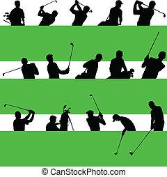 golfista, siluetas, vector, verde