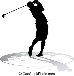 golfista, sombra, macho, pelota de golf