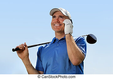 golfista, utilizar, teléfono móvil