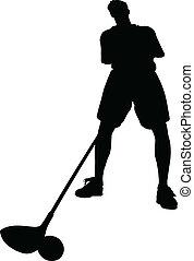 golfista, vector, siluetas
